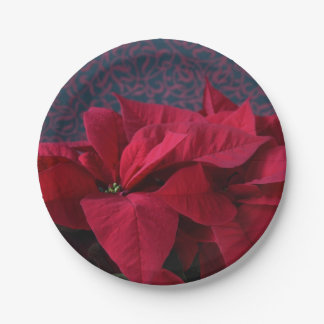Red poinsettias on decorative background paper plate