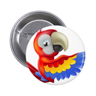 Red pointing cartoon parrot button