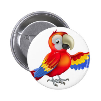 Red pointing cartoon parrot pinback button