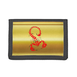 Red poisonous scorpion very venomous insect tri-fold wallets