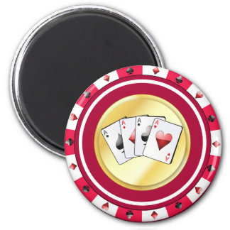 Red Poker Chip with Quad Aces Magnet
