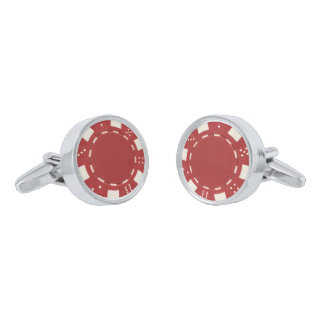 Red Poker Chips Cufflinks Silver Finish Cuff Links