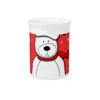 Red polar bear pitcher
