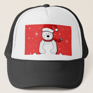 Red polar bear trucker hat