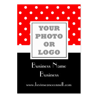 Red polka dot and logo pack of chubby business cards