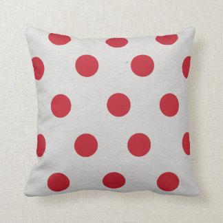 Red polka dot christmas holiday decor gift gray cushion