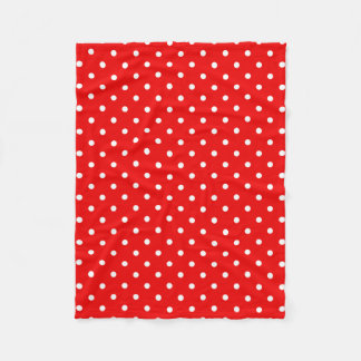 Red polka dot fleece blanket