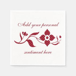 Red Polka Dot Flowers Disposable Serviette