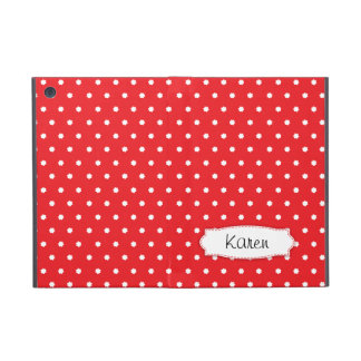 Red polka dot flowers name ipad mini powis case