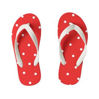 Red Polka Dot Kids Flip Flops