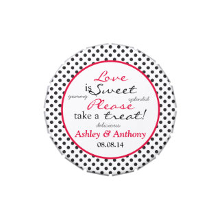 Red Polka Dot Love is Sweet Wedding Candy Tin