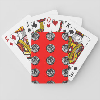 "Red ""polka dot madness""  roses playing cards"