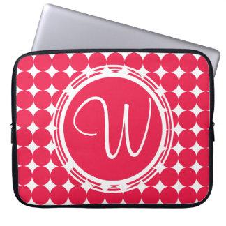Red Polka Dot Monogram Laptop Sleeve
