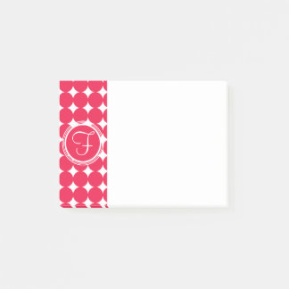Red Polka Dot Monogram Post-it Notes