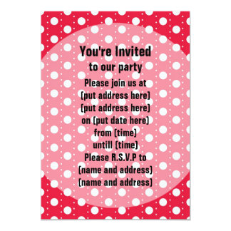 """Red Polka Dot Pattern 5"""" X 7"""" Invitation Card"""