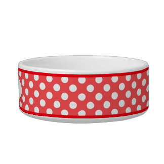 Red Polka Dot Personalized Small Dog Bowl
