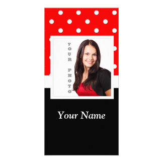 Red Polka dot photo template Customised Photo Card