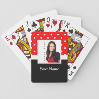 Red Polka dot photo template Playing Cards