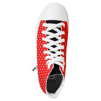 Red polka dot red high tops