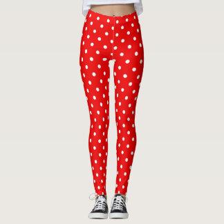 Red polka dot red leggings
