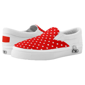 Red polka dot slip on shoes
