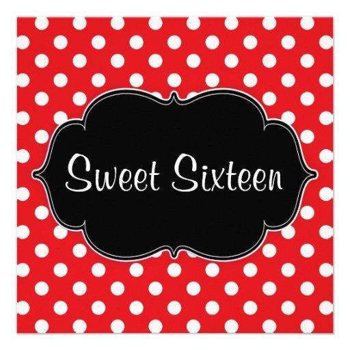 Red Polka Dot Sweet 16 Birthday Party Invitations Invite