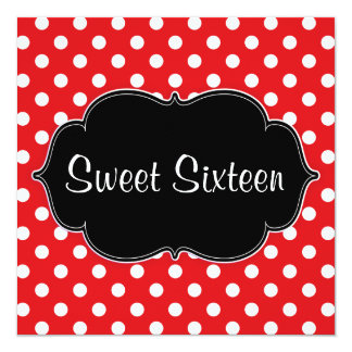 Red Polka Dot Sweet 16 Birthday Party Invitations