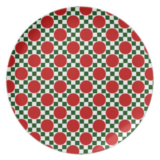Red polka dots and small green squares party plates