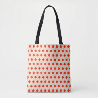 Red polka dots, beige backgroud - geometric design tote bag