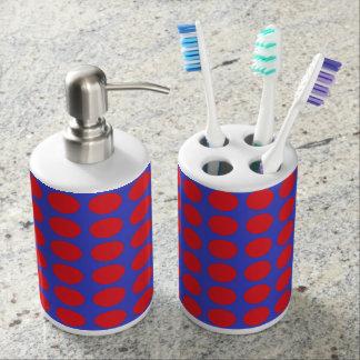 Red Polka Dots Blue Soap Dispenser And Toothbrush Holder