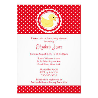 Red Polka Dots Duck Baby Shower Announcement