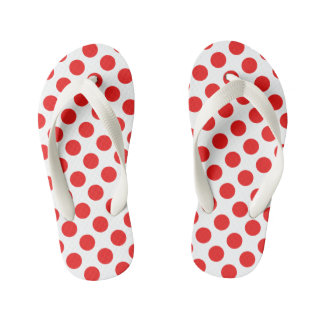 Red Polka Dots Kid's Thongs