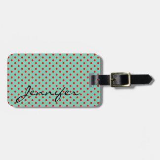 Red Polka Dots on Aqua Custom Name And Color Luggage Tag