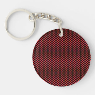 Red Polka Dots on Black Double-Sided Round Acrylic Key Ring