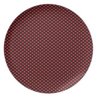 Red Polka Dots on Black Plate