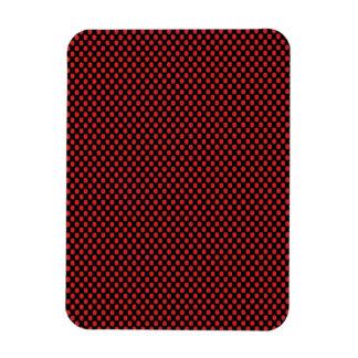 Red Polka Dots on Black Rectangular Photo Magnet