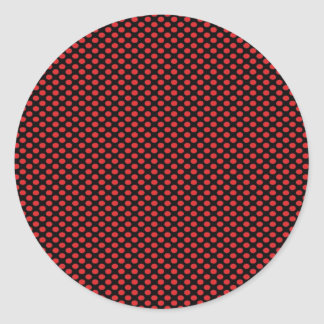 Red Polka Dots on Black Round Sticker