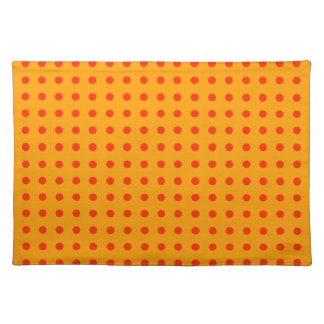 Red polka dots on bright yellow background placemat