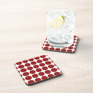 Red Polka Dots on White Beverage Coasters