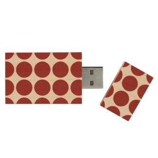 Red Polka Dots on White Wood USB 3.0 Flash Drive