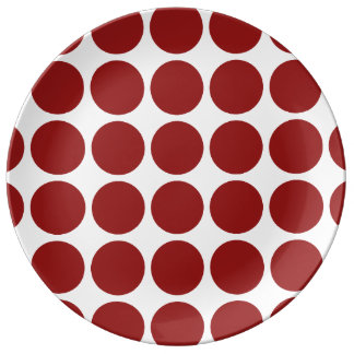 Red Polka Dots on White Porcelain Plate