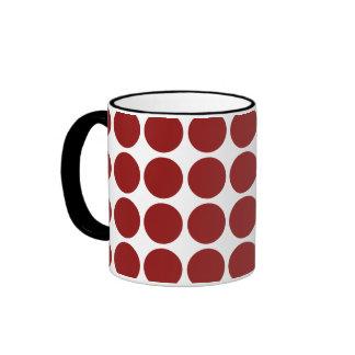 Red Polka Dots on White Mug