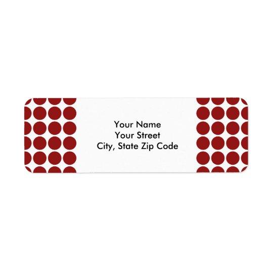 Red Polka Dots on White return address label
