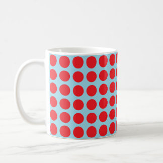 Red Polka Dots Pastel Blue Coffee Mug