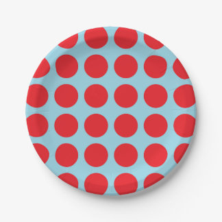 Red Polka Dots Pastel Blue Paper Plate