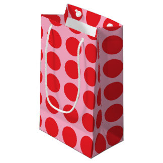 Red Polka Dots Pink Small Gift Bag