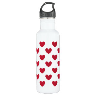Red polka hearts on white 710 ml water bottle