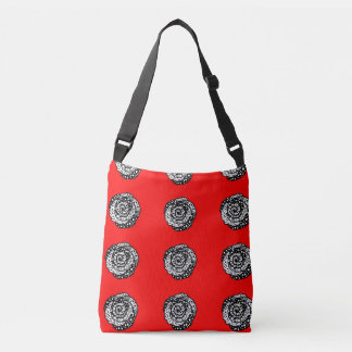 """Red """"polka madness"""" roses cross body tote"""
