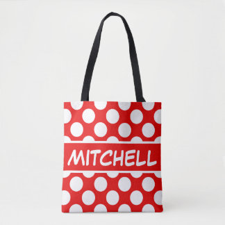 Red Polkadot CP Personalized Tote Bag