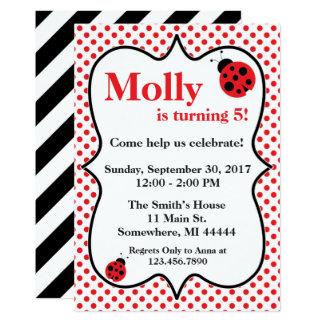 Red Polkadot Ladybug Birthday Party Invitation